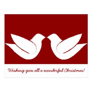 Dos navidad de las palomas de la tortuga postales