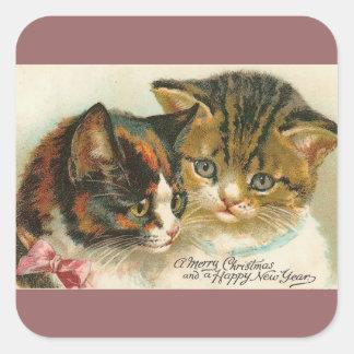 Dos navidad de los gatitos colcomanias cuadradas