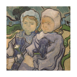 Dos niñas, 1890 cuadro de madera