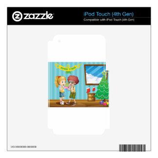Dos niños adorables que intercambian sus regalos iPod touch 4G skin