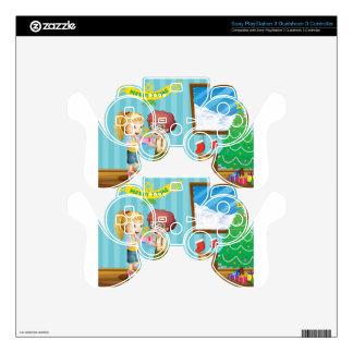 Dos niños adorables que intercambian sus regalos mando PS3 skins
