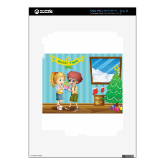 Dos niños adorables que intercambian sus regalos pegatinas skins para iPad 3