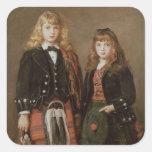 Dos niños calcomanias cuadradas