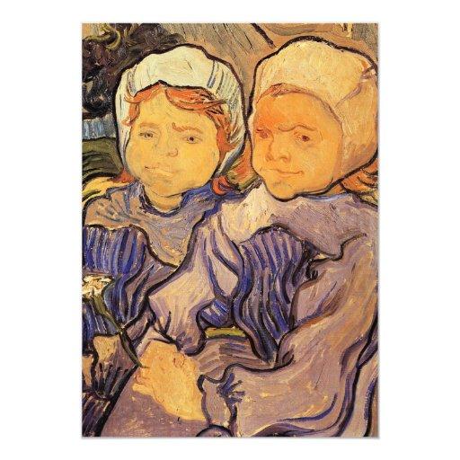 """Dos niños de Vincent van Gogh Invitación 5"""" X 7"""""""