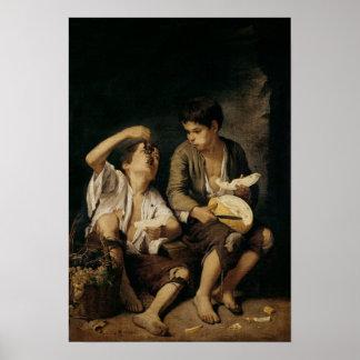 Dos niños que comen un melón y las uvas, 1645-46 impresiones