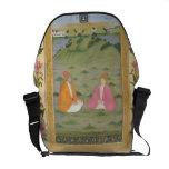 Dos nobles asentados en un paisaje, de la pequeña  bolsa de mensajeria