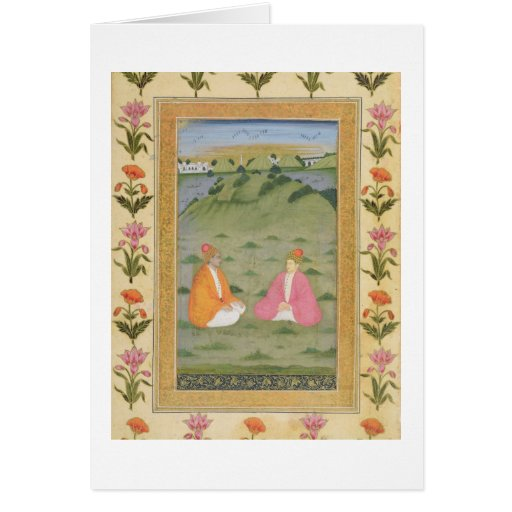 Dos nobles asentados en un paisaje, de la pequeña  tarjeta de felicitación