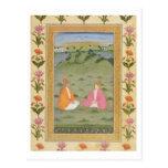 Dos nobles asentados en un paisaje, de la pequeña  tarjeta postal