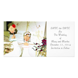 Dos novias ahorran la fecha tarjeta personal con foto