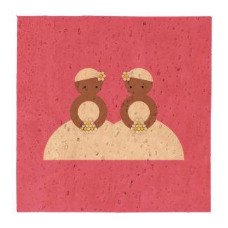 Dos novias ambas coloreadas posavasos