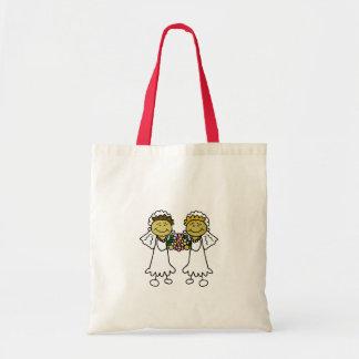 Dos novias asiáticas lesbianas bolsa tela barata