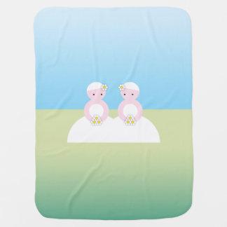 Dos novias caucásicas manta de bebé