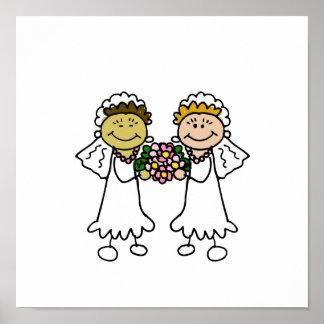 Dos novias con las flores - asiático interracial póster