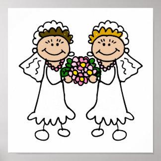 Dos novias con las flores póster