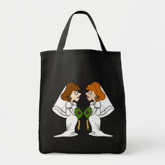Dos novias en amor bolsa tela para la compra
