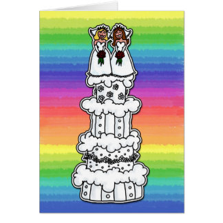 Dos novias en el pastel de bodas tarjeton