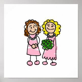 Dos novias rosadas póster