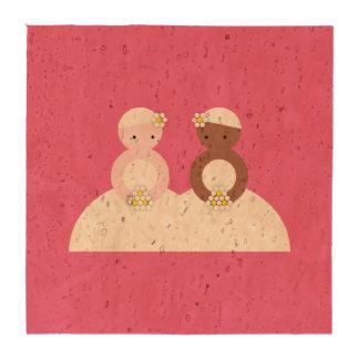 Dos novias un caucásico uno coloreado posavasos