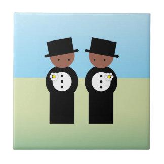 Dos novios azulejo cuadrado pequeño