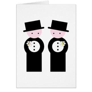 Dos novios caucásicos tarjeta de felicitación