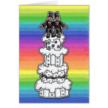 Dos novios en el pastel de bodas del arco iris tarjetón