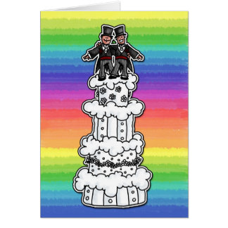 Dos novios en el pastel de bodas del arco iris tarjeta de felicitación