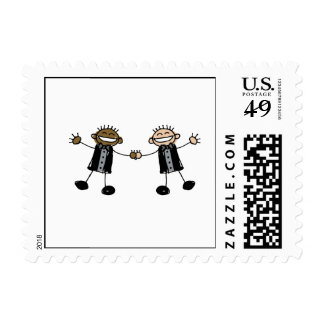 Dos novios que bailan interracial feliz timbres postales