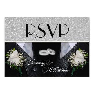 """Dos novios que casan los Tuxes RSVP Invitación 3.5"""" X 5"""""""