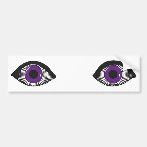 Dos ojos púrpuras pegatina de parachoque