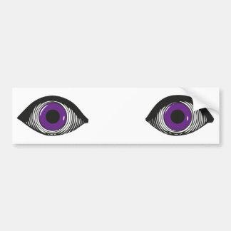 Dos ojos púrpuras pegatina para auto