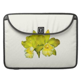 Dos orquídeas amarillas funda para macbooks