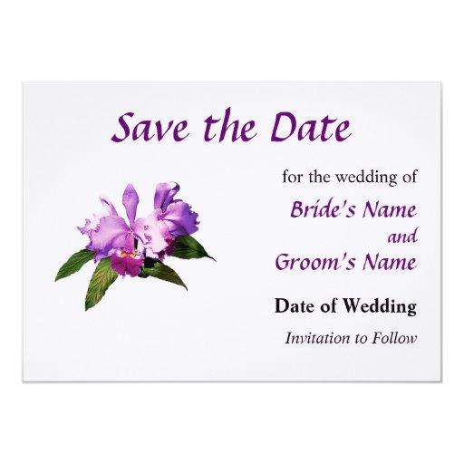 """Dos orquídeas púrpuras ahorran la fecha invitación 5"""" x 7"""""""