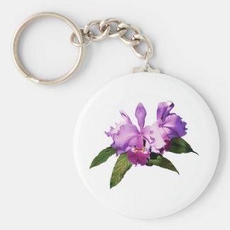 Dos orquídeas púrpuras llavero redondo tipo pin