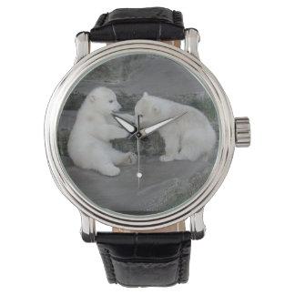 Dos oso polar Cubs Relojes De Pulsera