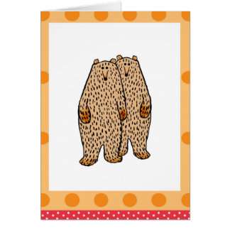 Dos osos marrones adorables tarjeta de felicitación