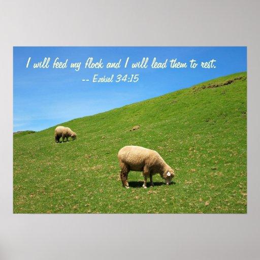 Dos ovejas están pastando en un pasto enorme impresiones