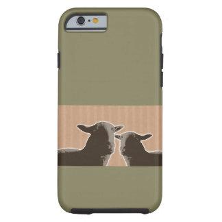 Dos ovejas negras en moreno y fondo verde funda resistente iPhone 6