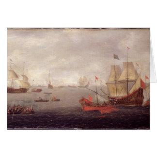 Dos o'War holandeses de los hombres acompañada por Tarjeta De Felicitación