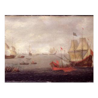 Dos o'War holandeses de los hombres acompañada por Tarjeta Postal