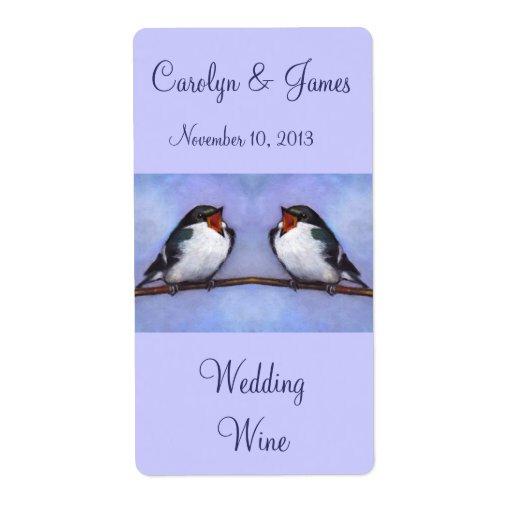 Dos pájaros en rama: Vino del boda: Arte del paste Etiquetas De Envío