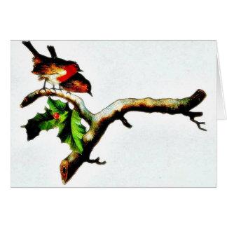 Dos pájaros que se colocan en una rama que mira ab felicitación