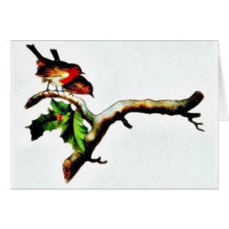 Dos pájaros que se colocan en una rama que mira ab tarjeta