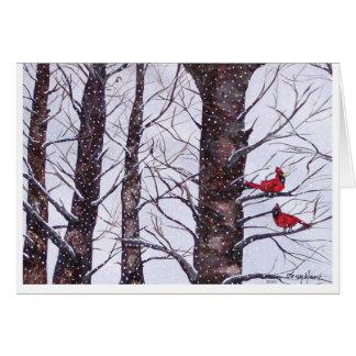 dos pájaros rojos en el invierno, Copyright 2005 Tarjeta De Felicitación