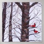 Dos pájaros rojos en invierno impresiones