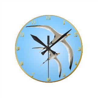 Dos pájaros tropicales Wallclock Reloj Redondo Mediano