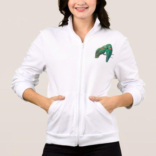 Dos pájaros verdes chaquetas deportivas