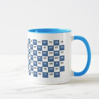 Dos palabras de la letra azules e Intrl blanco.