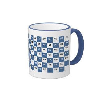 Dos palabras de la letra azules e Intrl blanco ve Tazas De Café