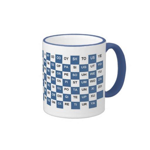 Dos palabras de la letra azules e Intrl blanco. ve Tazas De Café