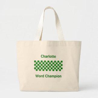 Dos palabras de la letra verdes y versión blanca d bolsa tela grande